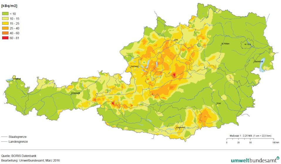 Bodenkontamination durch Cäsium 137 in Österreich