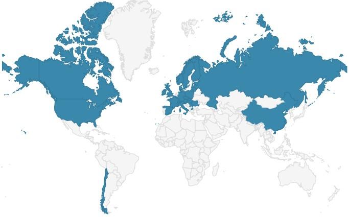 Karte des Vorkommens von Hirschtrüffel weltweit