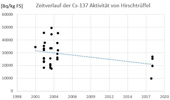 Entwicklung der Cäsium-137 Aktivität in Hirschtrüffel auf der Probefläche B1