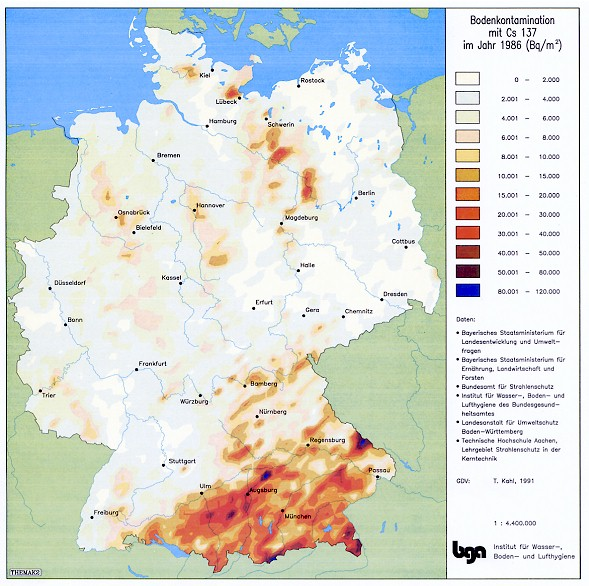 Cäsium-137 Bodenkontamination in Deutschland 1986