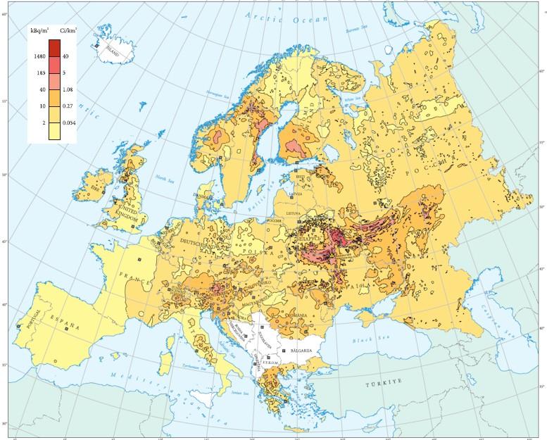 Europa Karte der Cäsium 137 Deposition. Angaben in kBq pro Quadratmeter