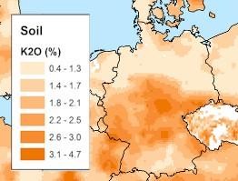 Übersichtskarte von Kalium 40 in Böden von Deutschland