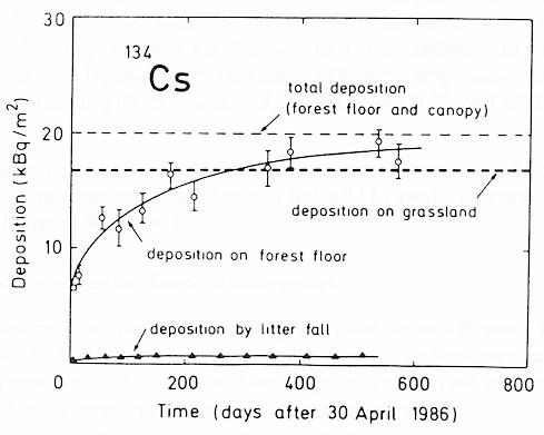 Zeitverlauf der Deposition von Cäsium-134 in einem Wald nach dem Tschernobyl-Fallout
